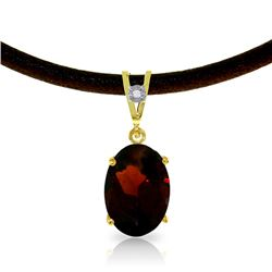 Genuine 7.56 ctw Garnet & Diamond Necklace Jewelry 14KT Yellow Gold - REF-53F8Z