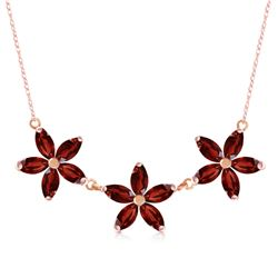 Genuine 4.2 ctw Garnet Necklace Jewelry 14KT Rose Gold - REF-60W7Y