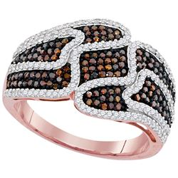 0.75 CTW Red Color Diamond Cocktail Ring 10KT Rose Gold - REF-67N4F