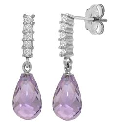 Genuine 4.65 ctw Amethyst & Diamond Earrings Jewelry 14KT White Gold - REF-36X2M