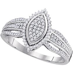 0.25 CTW Diamond Oval Cluster Ring 10KT White Gold - REF-25K4W
