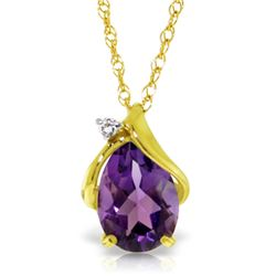 Genuine 1.53 ctw Amethyst & Diamond Necklace Jewelry 14KT Yellow Gold - REF-28Y3F