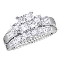0.50 CTW Princess Diamond Bridal Engagement Ring 10KT White Gold - REF-37N5F
