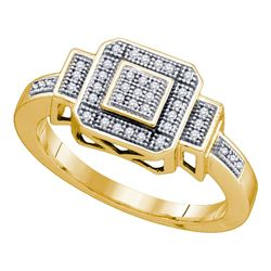 0.12 CTW Diamond Square Cluster Ring 10KT Yellow Gold - REF-24M2H