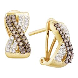 0.50 CTW Brown Color Diamond Crossover Hoop Earrings 14KT Yellow Gold - REF-49Y5X