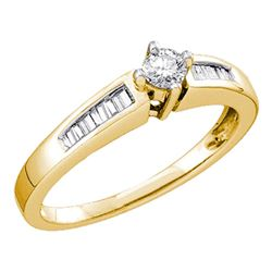 0.25 CTW Diamond Solitaire Bridal Engagement Ring 10KT Yellow Gold - REF-30F2N
