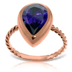 Genuine 3.5 ctw Sapphire Ring Jewelry 14KT Rose Gold - REF-59P2H