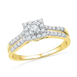 0.50 CTW Diamond Square-shape Halo Bridal Engagement Ring 10KT Yellow Gold - REF-44X9Y