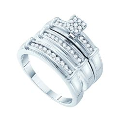 0.42 CTW His & Hers Diamond Cluster Matching Bridal Ring 14KT White Gold - REF-71X3Y