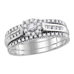 0.25 CTW Diamond 3-Piece Bridal Engagement Ring 14KT White Gold - REF-52H4M
