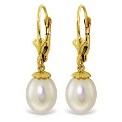 Genuine 8 ctw Pearl Earrings Jewelry 14KT Yellow Gold - REF-20M7T