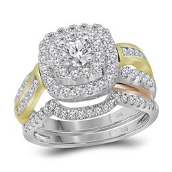 1.02 CTW Diamond Double Halo Bridal Ring 14KT Two-tone Gold - REF-142K4W