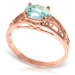 Genuine 1.15 ctw Aquamarine Ring Jewelry 14KT Rose Gold - REF-35Z2N