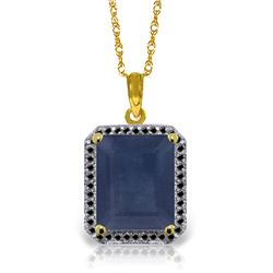 Genuine 6.6 ctw Sapphire & Black Diamond Necklace Jewelry 14KT Yellow Gold - REF-100N6R