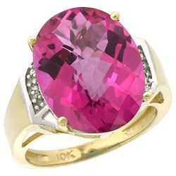 Natural 11.02 ctw Pink-topaz & Diamond Engagement Ring 10K Yellow Gold - REF-50Z9Y