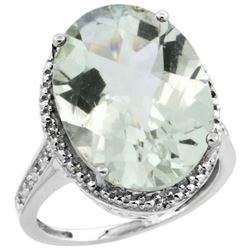 Natural 13.6 ctw Green-amethyst & Diamond Engagement Ring 14K White Gold - REF-75V6F