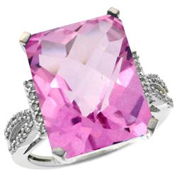 Natural 12.14 ctw Pink-topaz & Diamond Engagement Ring 10K White Gold - REF-53F2N