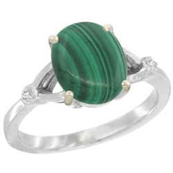 Natural 2.76 ctw Malachite & Diamond Engagement Ring 14K White Gold - REF-31X6A