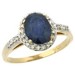 Natural 1.57 ctw Blue-sapphire & Diamond Engagement Ring 10K Yellow Gold - REF-38A9V