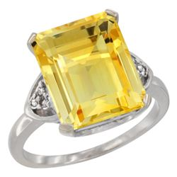 Natural 5.44 ctw citrine & Diamond Engagement Ring 10K White Gold - REF-32F2N