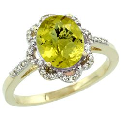 Natural 1.85 ctw Lemon-quartz & Diamond Engagement Ring 14K Yellow Gold - REF-38F3N