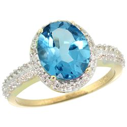 Natural 2.56 ctw Swiss-blue-topaz & Diamond Engagement Ring 10K Yellow Gold - REF-32R7Z