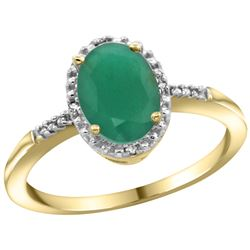 Natural 1.5 ctw Emerald & Diamond Engagement Ring 14K Yellow Gold - REF-32X7A