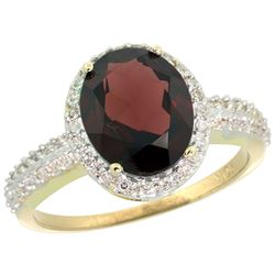 Natural 2.56 ctw Garnet & Diamond Engagement Ring 10K Yellow Gold - REF-35A9V