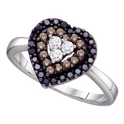 0.50 CTW Black Color Diamond Heart Love Ring 14KT White Gold - REF-40N4F