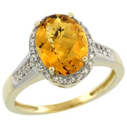 Natural 2.49 ctw Whisky-quartz & Diamond Engagement Ring 14K Yellow Gold - REF-41X2A