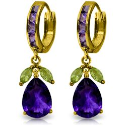 Genuine 14.3 ctw Amethyst & Peridot Earrings Jewelry 14KT Yellow Gold - REF-82P9H