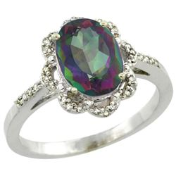 Natural 1.85 ctw Mystic-topaz & Diamond Engagement Ring 14K White Gold - REF-38W6K