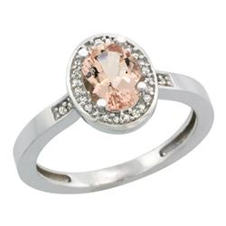 Natural 0.75 ctw Morganite & Diamond Engagement Ring 14K White Gold - REF-33F7N