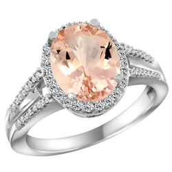 Natural 4.12 ctw morganite & Diamond Engagement Ring 14K White Gold - REF-86V5F