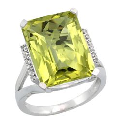 Natural 12.13 ctw Lemon-quartz & Diamond Engagement Ring 14K White Gold - REF-67H2W