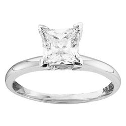 0.25 CTW Princess Diamond Solitaire Bridal Engagement Ring 14KT White Gold - REF-37F5N