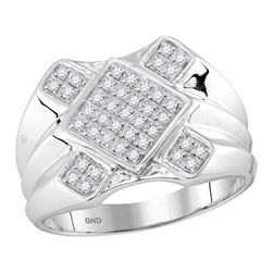 0.33 CTW Mens Diamond Diagonal Square Cluster Ring 10KT White Gold - REF-37Y5X