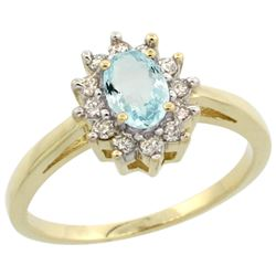 Natural 0.67 ctw Aquamarine & Diamond Engagement Ring 14K Yellow Gold - REF-49Y9X
