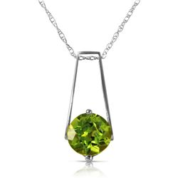 Genuine 1.45 ctw Peridot Necklace Jewelry 14KT White Gold - REF-23R8P