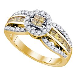 0.82 CTW Princess Yellow Color Diamond Cluster Ring 14KT Yellow Gold - REF-63W2K