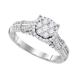 0.69 CTW Diamond Flower Cluster Bridal Engagement Ring 10KT White Gold - REF-72X7Y