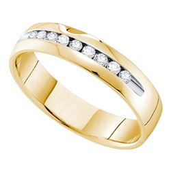 0.25 CTW Mens Channel-set Diamond Single Row Wedding Ring 14KT Yellow Gold - REF-52K4W