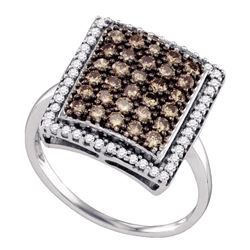 1.03 CTW Cognac-brown Color Diamond Rectangle Cluster Ring 10KT White Gold - REF-52H4M