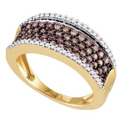 0.80 CTW Cognac-brown Color Diamond Ring 10KT Rose Gold - REF-49H5M