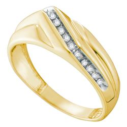 0.13 CTW Mens Diamond Diagonal Single Row Wedding Ring 10KT Yellow Gold - REF-24M2H