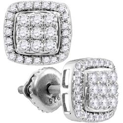0.51 CTW Diamond Square Cluster Earrings 10KT White Gold - REF-37M5H