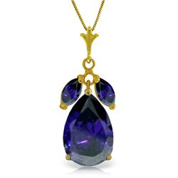 Genuine 5.15 ctw Sapphire Necklace Jewelry 14KT Yellow Gold - REF-53X2M