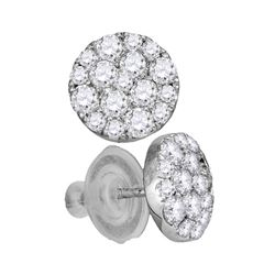 1 CTW Diamond Cluster Earrings 14KT White Gold - REF-89K9W