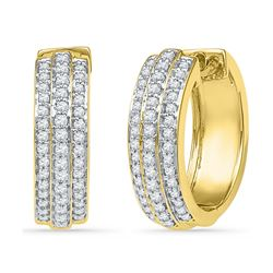 0.50 CTW Diamond Triple Row Hoop Earrings 10KT Yellow Gold - REF-48F7N