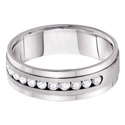 0.50 CTW Mens Diamond Wedding Ring 14KT White Gold - REF-89M9H